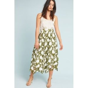 NWT Anthpologie Textured Fern Lace Midi Skirt
